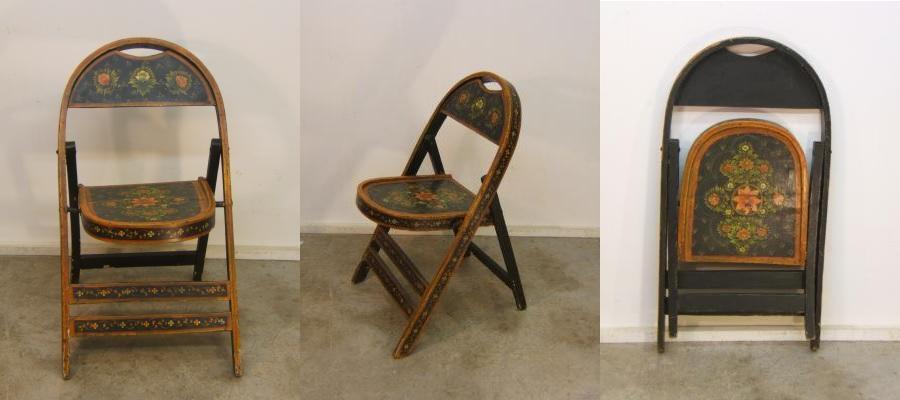 Zumadia-silla antigua plegable pintada