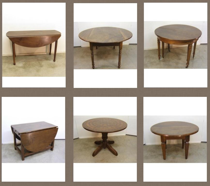 Mesa redonda antigua extensible - Muebles antiguos - Zumadia